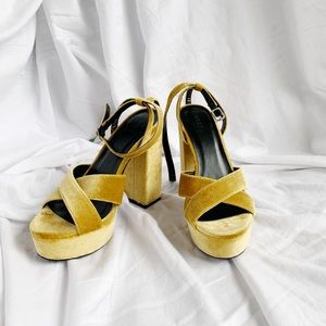 Faux Suede Ankle-Strap Platform Heels.Mustard. New